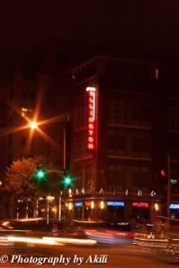 Washington, DC U Street on a dim lit night